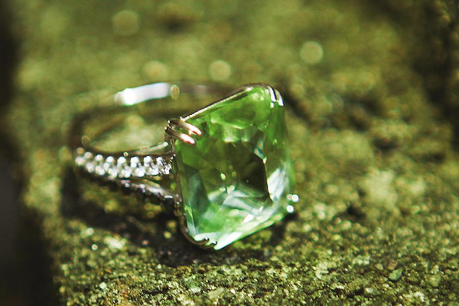 Green Beryl with Black & White Diamond Signature Ring