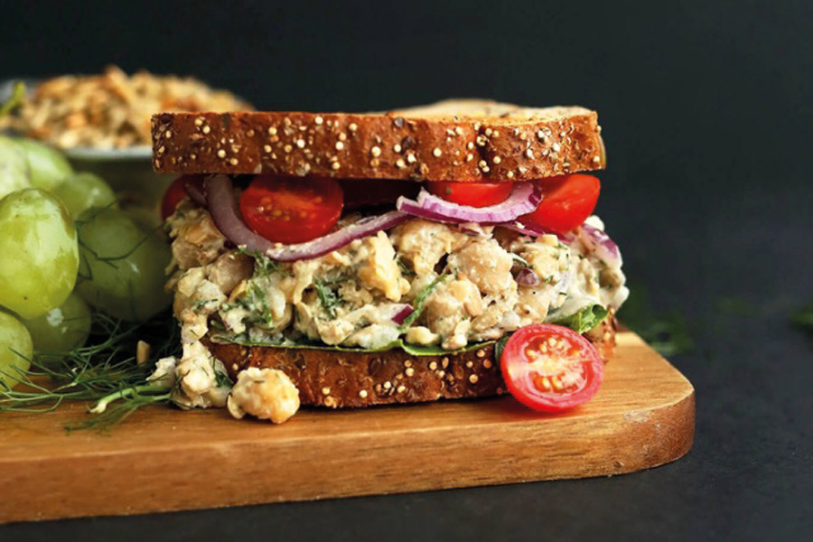 Chickpea tuna salad sandwich