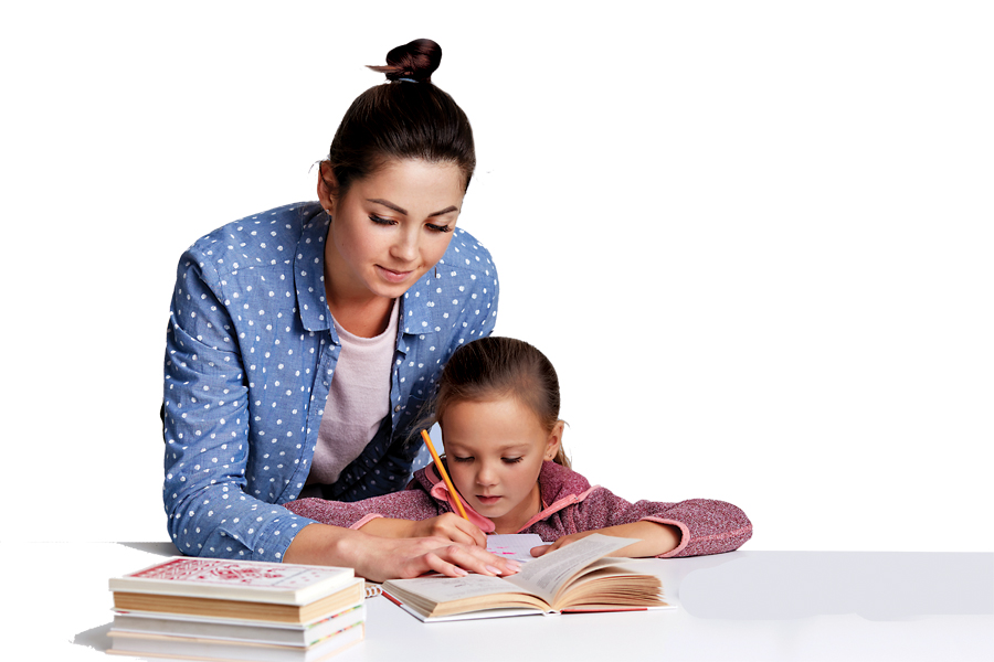 Beautiful Caucasian woman helping her doughter to do school homework, mother and child surronded by books, little girl sitting concentrated at white desk, trying to do sums. Education concept.